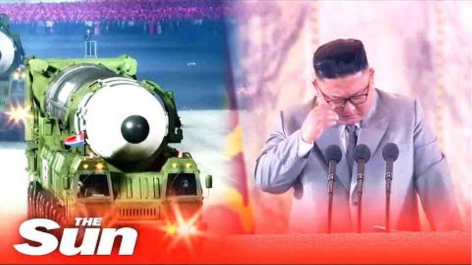 Kim Jong-un CRIES as he boasts North Korea has 'zero' coronavirus cases at military parade