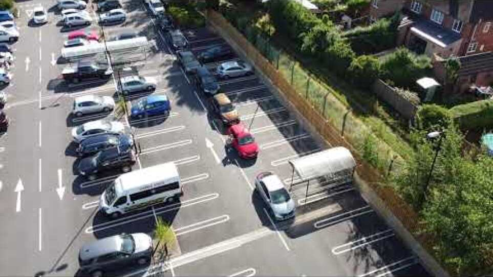 """""""Don't panic!"""" Drone footage of queues at a petrol station as motorists told not to panic buy"""